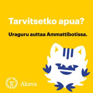 Uraguru-logo. Tarvitsetko apua? Uraguru auttaa Ammattibotissa.