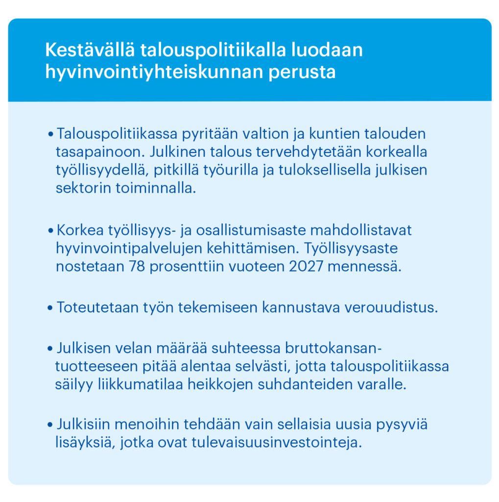 Kestävän talouspolitiikan piirteet luettelona, osa talouspoliittista ohjelmaa
